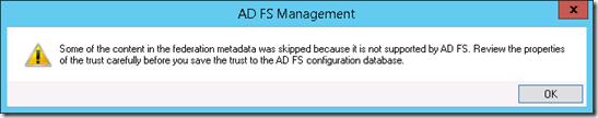 Error ADFS Metadata